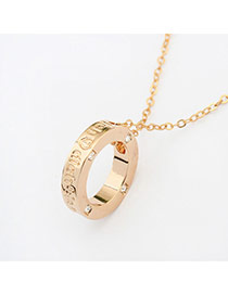 Elegant Gold Color Diamond&letter Decorated Round Pendant Necklace