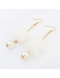 Elegant White Pearl&hairy Ball Shape Pendant Decorated Pure Color Earring
