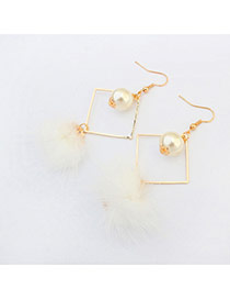 Elegant White Hairy Ball Shape Pendant Decorated Rhombus Earring