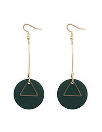 Fashion Green Round Shape Pendant Decorated Simple Earrings