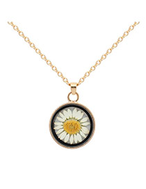 Fashion Yellow Flower Decorated Simple Long Chain Necklace