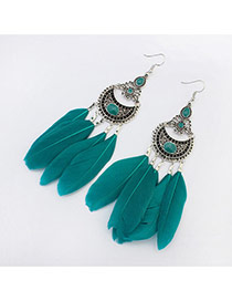 Elegant Green Feather Tassel Pendant Decorated Simple Earring