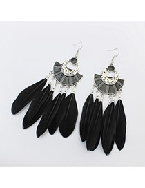 Elegant Black Feather Tassel Pendant Decorated Simple Earring