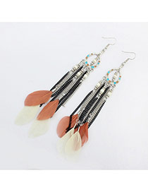 Elegant Antique Gold Beads&feather Pednat Decorated Simplle Earring