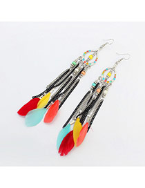 Elegant Multi-color Beads&feather Pednat Decorated Simplle Earring