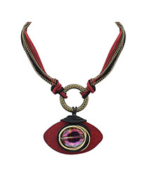 Vintage Red Eye Shape Pendant Decorated Multilayer Necklace