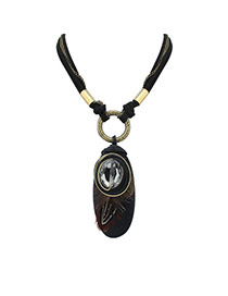 Vintage Black Oval Shape Pendant Decorated Multilayer Necklace