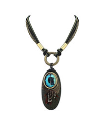 Vintage Blue Oval Shape Pendant Decorated Multilayer Necklace