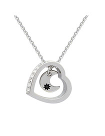 Cute Silver Color Moon&heart Shape Pendant Decorated Simple Necklace