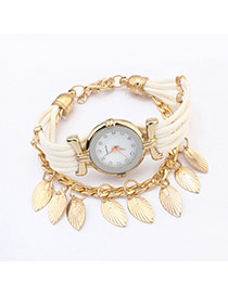 Sweet White Leaf Tassel Pendant Decorated Multilayer Watch