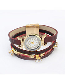 Elegant Red Diamond Decorated Multilayer Watch