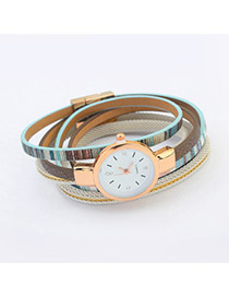 Fashion Light Blue Geometric Shape Pattern Decorated Mutliayer Watch