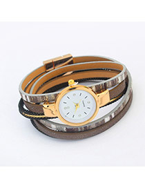 Fashion Light Gray Geometric Shape Pattern Decorated Mutliayer Watch