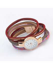 Fashion Red Geometric Shape Pattern Decorated Mutliayer Watch
