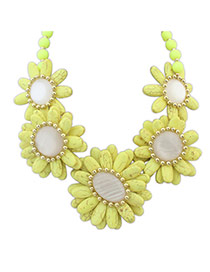 Fashion Yellow Beads Decorated Flower Shape Design Necklace