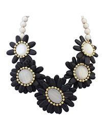 Fashion Black Beads Decorated Flower Shape Design Necklace