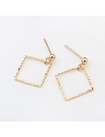 Fashion Gold Color Square Shape Pendant Decorated Pure Colr Design Earrings