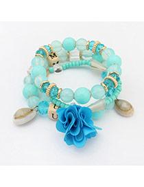 Bohemia Light Blue Flower&shell Pendant Decorated Simple Multilayer Bracelet