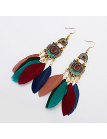 Bohemia Multi-color Color-macthing Design Feather Pendant Decorated Simple Earrings