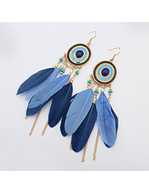 Bohemia Blue Metal Round Shape Decorated Feather Simple Earrings