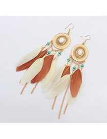 Bohemia White+light Orange Metal Round Shape Decorated Feather Simple Earrings