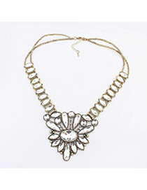 Elegant White Oval Shape Diamond Decorated Pure Color Simple Necklace