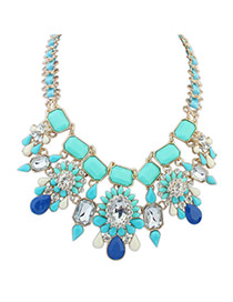 Exaggerated Blue Square Shape Diamond Decorated Color Matching Necklace