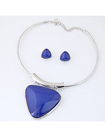 Exaggerate Blue Triangle Shape Pendant Decorated Simple Jewelry Set
