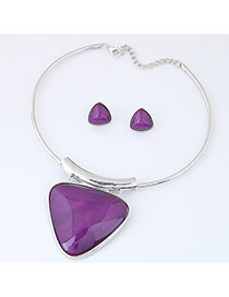 Exaggerate Purple Triangle Shape Pendant Decorated Simple Jewelry Set
