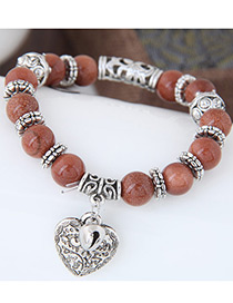 Personality Brown Metal Heart Pendant Decorated Simple Bracelet