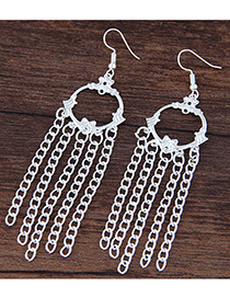 Fashion Silver Color Metal Tassel Decorated Simple Pure Color Earrings