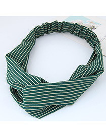 Fashion Green Stripe Pattern Decorated Simple Wide Hair Band