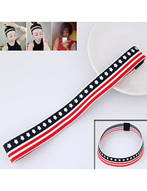 Personality Red+black Star Shape Decorated Simple Wide Hair Band