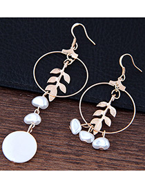 Fashion Gold Color Leaf &round Shape Decorated Simple Long Chain Earrings