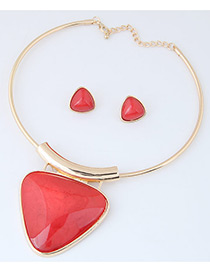 Fashion Red Triangle Shape Pendant Decorated Simple Jewelry Sets