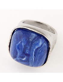 Fashion Silver Color+blue Square Shape Gemstone Decorated Color Matching Ring