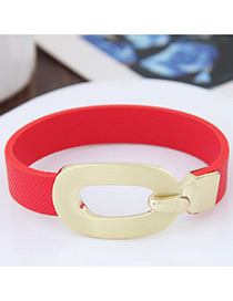 Personality Red Buckle Shape Decorated Simple Pure Color Bracelet