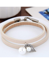 Lovely Beige Metal Leaf &round Shape Decorated Simple Double Layer Bracelet