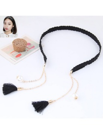 Elegant Black Long Tassel Pendant Decorated Color Matching Hair Clasp