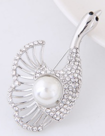 Fashion Silver Color Pearls&diamond Decorated Pure Color Goose Shape Brooch