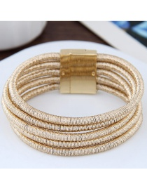 Elegant Gold Color Pure Color Decorated Multi-layer Magnet Bracelet