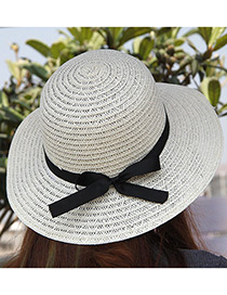 Elegant White Bowknot Decorated Pure Color Sunshade Beach Hat