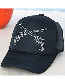 Fashion Navy Round Shape Diamond Decorated Pure Color Sunshade Sport Cap