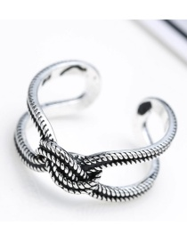 Fashion Antique Silver Pure Color Decorated Knot Design Opening Ring
