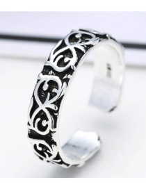 Fashion Antique Silver Flower Pattern Decorated Pure Color Opening Ring