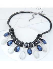 Trendy Multi-color Water Drop Diamond Decorated Color Matching Necklace