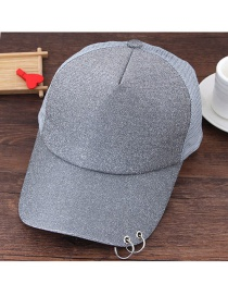 Fashion Gray Circular Ring Decorated Pure Color Simple Baseball Cap
