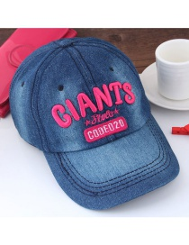 Fashion Blue+red Letter Pattern Decorated Color Matching Peaked Cap