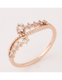 Elegant Rose Gold Star Decorated Hollow Out Design Pure Color Ring