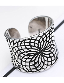 Fashion Antique Silver Graffiti Pattern Decorated Pure Color Opening Ring